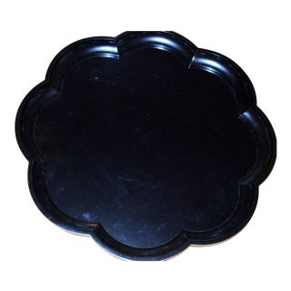 Lacquered Scallop Black Ebony Tray Round Japanese Asian Chinese Wood Resin For Sale