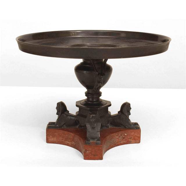 """Mid 19th Century An Italian Neo-Classic """"Grand Tour"""" Bronze Tazza Resting on Sphinx Figures For Sale - Image 5 of 5"""