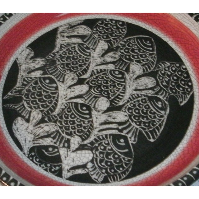 Ceramic Large Deep Crackle Ceramic Swimming Fish Platter Hand Signed & Numbered For Sale - Image 7 of 11