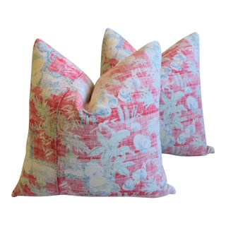 "Bohemian Chic Red, Rose & Blue Floral Batik Feather/Down Pillows 22"" Square - Pair For Sale"