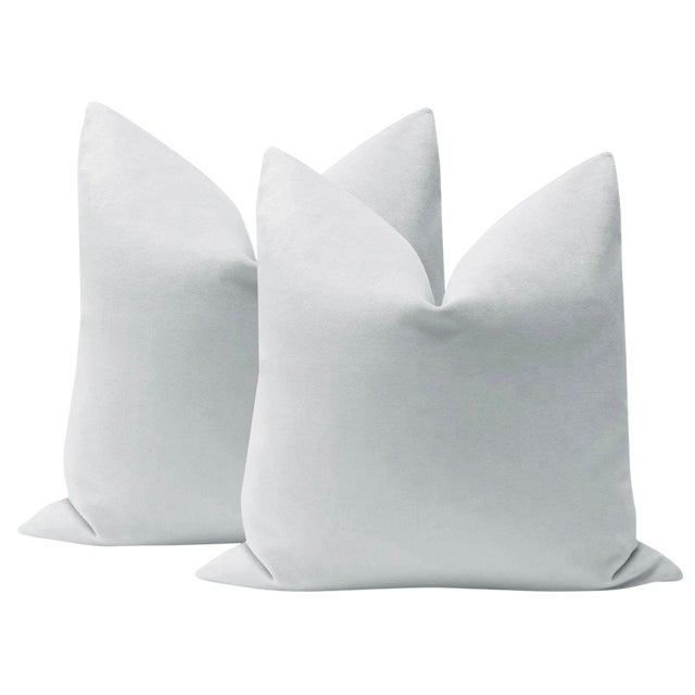 "22"" Dove Grey Velvet Pillows - a Pair For Sale"