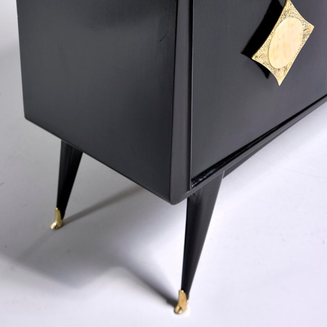Italian Ebonised Sideboard With Brass Knobs For Sale - Image 9 of 13