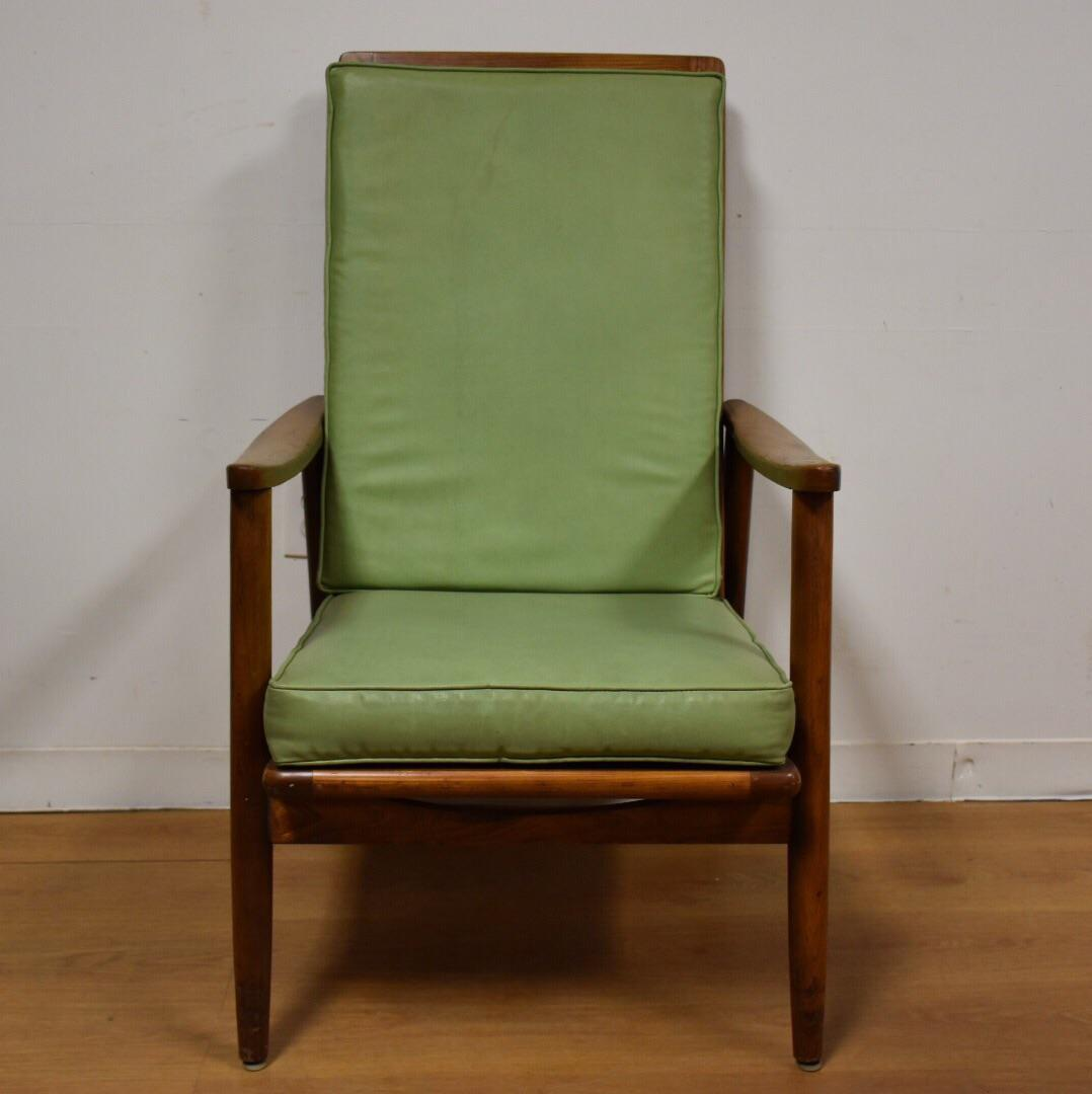 Mid Century Oak U0026 Green Vinyl Lounge Chair   Image 3 ...