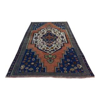 Anatolian Vintage Oushak Rug Handwoven Royal Blue Area Rug - 4′5″ × 9′6″