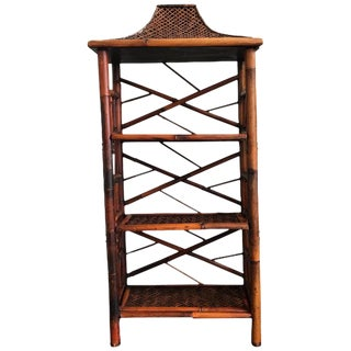 20th Century Chinoiserie Bamboo Pagoda Fretwork Etagere / Shelf For Sale