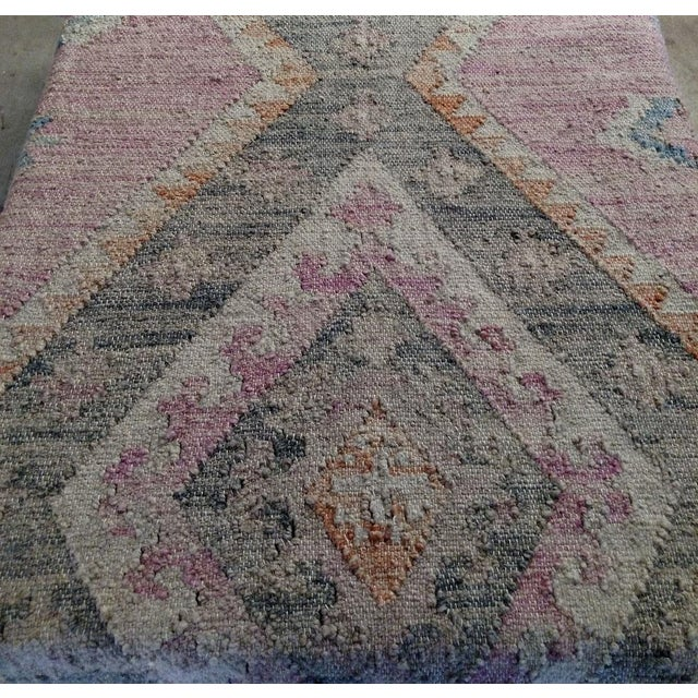 Asian Gambrell Renard Kilim Rug Ottoman For Sale - Image 3 of 6
