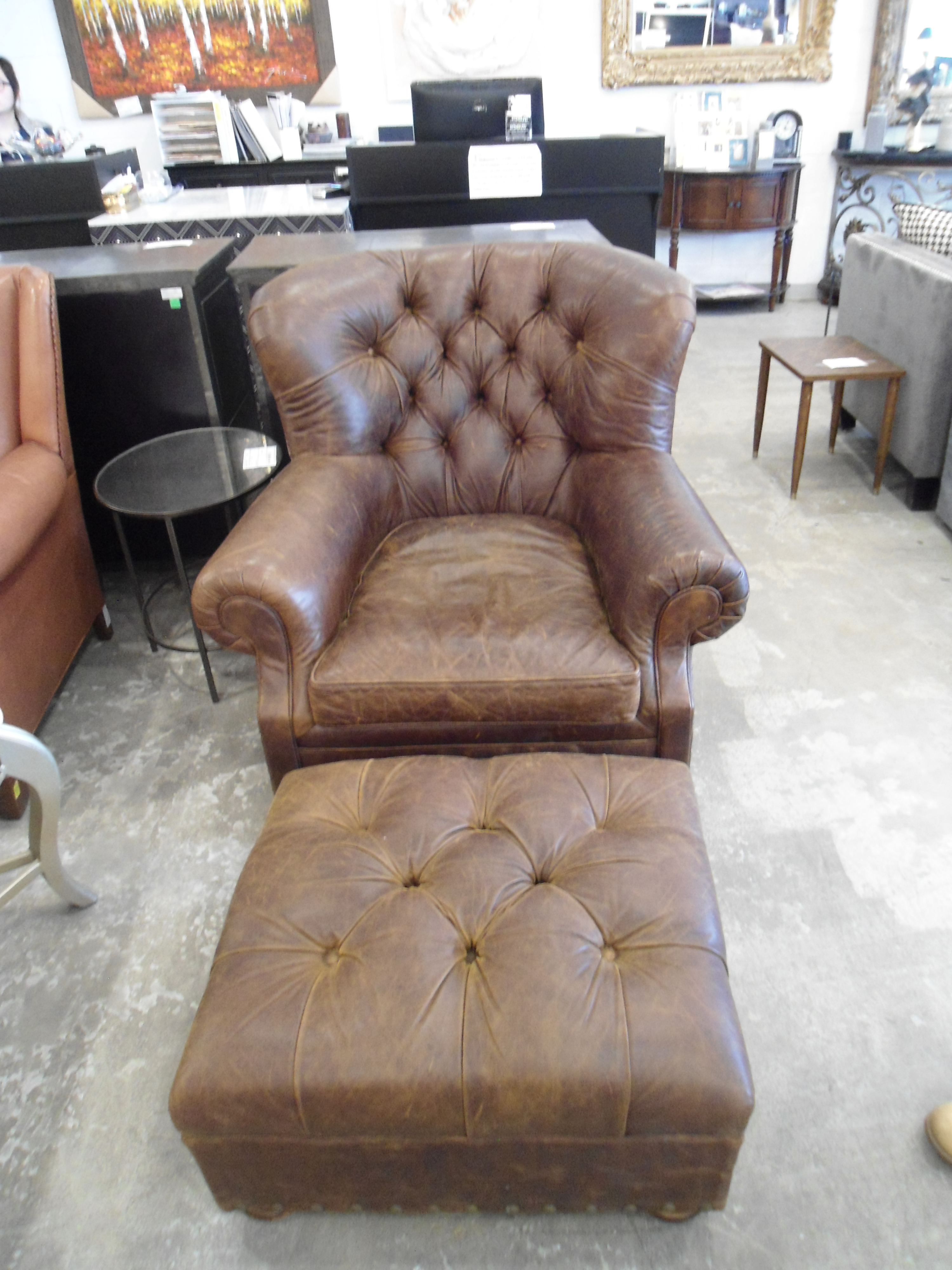 Restoration Hardware Churchill Leather Tufted Armchair U0026 Ottoman   Image 2  ...