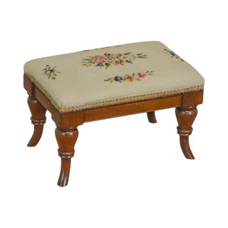 Victorian Antique Walnut Small Needlepoint Footstool For Sale