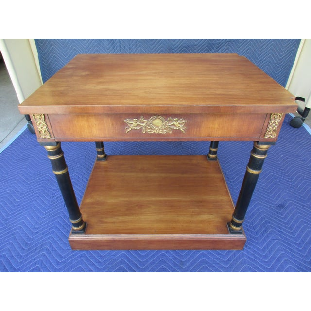 Hollywood Regency Fine Arts Furniture Side Table With Ornate Cherub Motif For Sale - Image 3 of 13