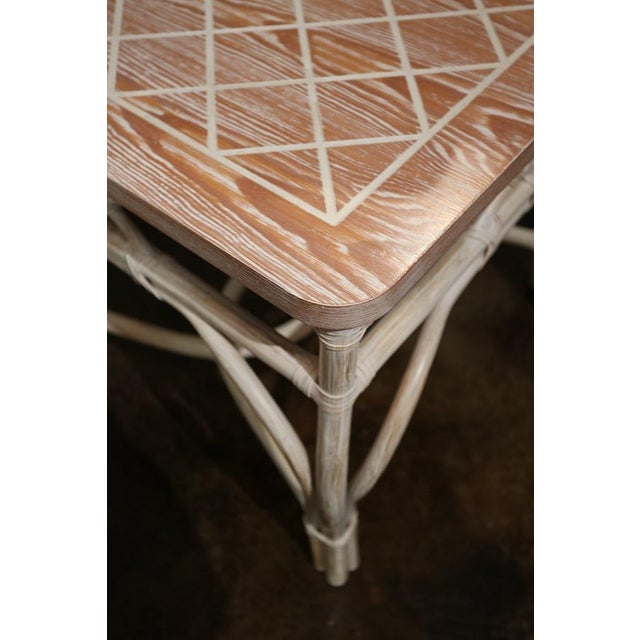 White-Wash Finish Rattan Occasional Table For Sale - Image 10 of 11