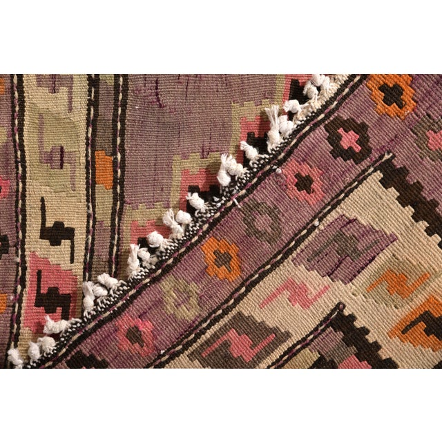 1950s Mid-Century Vintage Persian Kilim Rug in Lavender and Beige Brown Geometric Pattern For Sale - Image 5 of 6