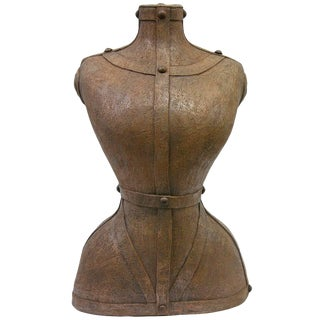 Contemporary Italian Modern Couture Sculpture of Bust in Brown Terra Cotta For Sale