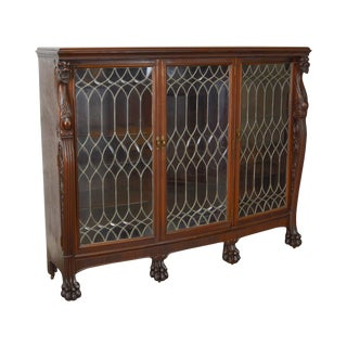 Horner Antique Mahogany Lion Head Claw Foot Leaded Glass 3 Door Bookcase For Sale