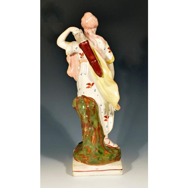 English Traditional Staffordshire Pearlware Pottery Figure of Diana, Wood Family, Early 19th-Century For Sale - Image 3 of 4