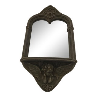 Vintage Ceramic Cupid Wall Mirror With Shelf For Sale