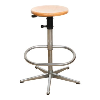 Dutch Vintage Drafting Stool with Footrest