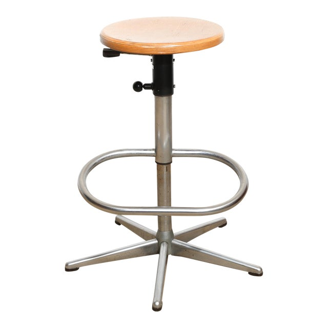 Dutch Vintage Drafting Stool with Footrest For Sale