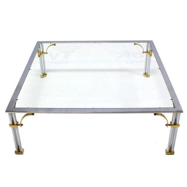 Early 20th Century Large Square Mid-Century Modern Brass Chrome and Glass Coffee Table For Sale - Image 5 of 9