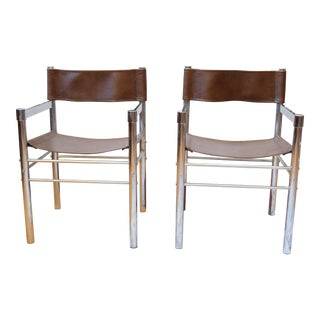 Chrome and Leatherette Director Chairs- a Pair For Sale