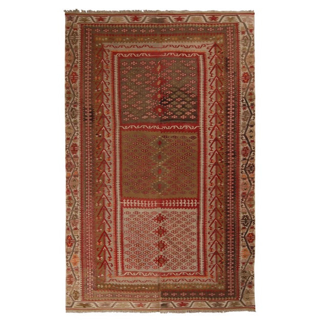 Vintage Kayseri Red and Brown Wool Kilim Rug For Sale