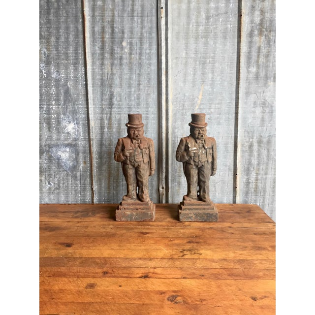 Antique Winston Churchill Cast Iron Andirons - A Pair - Image 10 of 10
