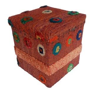 Delinda Orange/Purple Morrocan Wool Upholstered Handmade Storage Ottoman