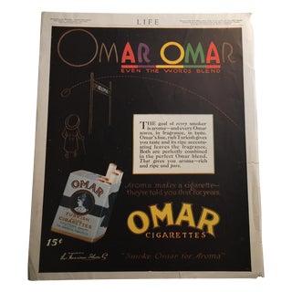 Omar Omar Cigarettes Ad Life Magazine 1917 For Sale