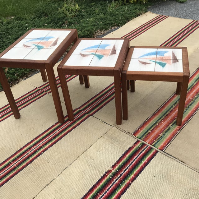 White 1970s Danish Modern Teak and Tile Top Nesting Tables - Set of 3 For Sale - Image 8 of 13
