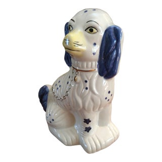 Vintage Staffordshire Dog in an Ultra Rare Royal Blue For Sale