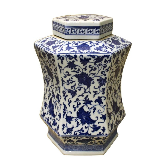 Chinese Blue & White Hexagon Porcelain Jar - Image 2 of 6