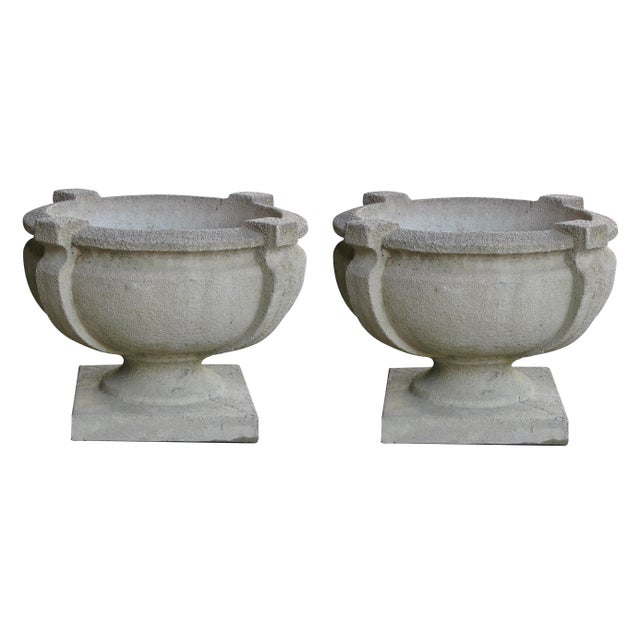 Stone A Handsome Pair of American Cast Stone Garden Urns For Sale - Image 7 of 7