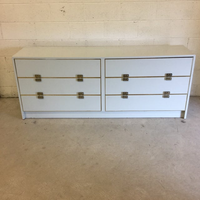 White Lacquer 6 Drawer Dresser With Greek Key Brass Pulls For Sale - Image 10 of 10