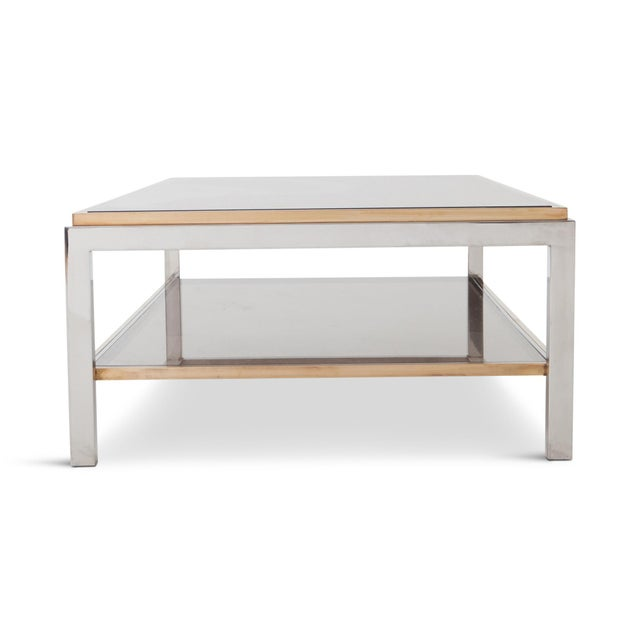 Hollywood Regency Willy Rizzo Rectangular Coffee Table in Brass, Chrome and Glass For Sale - Image 3 of 8