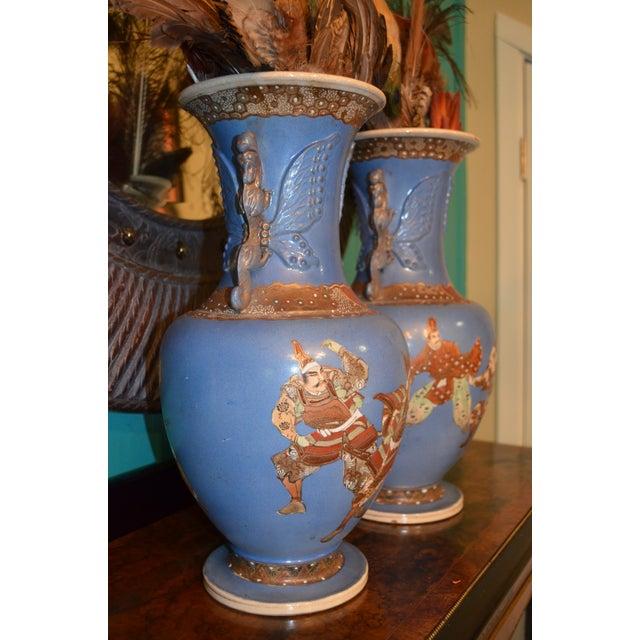 Metal Antique Japanese Blue Satsuma Samurai Vases - a Pair For Sale - Image 7 of 11