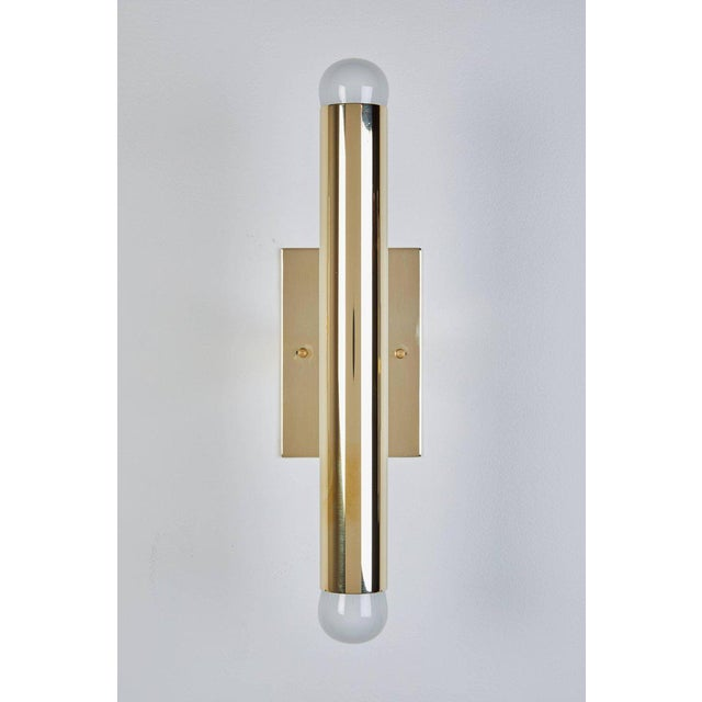 Set of Eight Italian Brass Tubular Sconces - Image 6 of 7