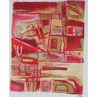Jerry Opper Mid Century Abstract in Red Late 1940s- Early 1950s