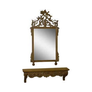 Decorative Crafts French Louis XV Style Carved Wall Mirror w/ Shelf For Sale