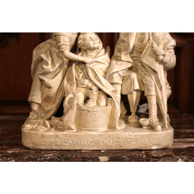 "19th Century American Cast Plaster Sculpture ""Playing Doctor"" Signed John Rogers For Sale - Image 4 of 13"