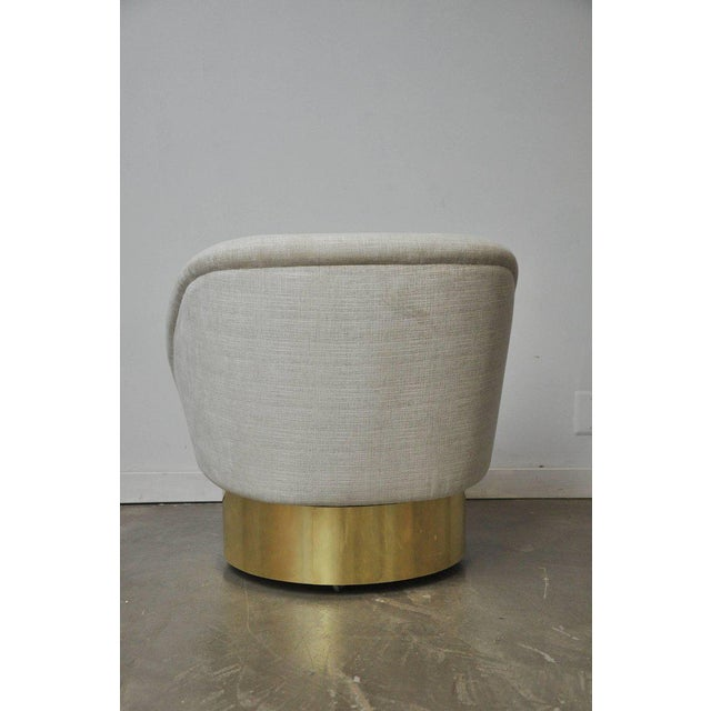 Vladimir Kagan Vladimir Kagan Crescent Swivel Chair on Brass Base For Sale - Image 4 of 6