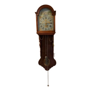 Dutch Tail Clock, Freis and Scene Wall Clock. Mid 19th Century Circa 1850 For Sale