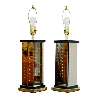 1970s Mid-Century Modern Italian Brass Smoked Glass Liteline Table Lamps - A Pair