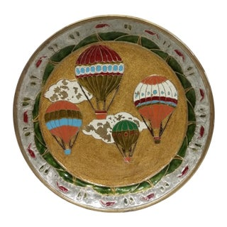 Vintage Brass Enamel Hot Air Balloon Plate