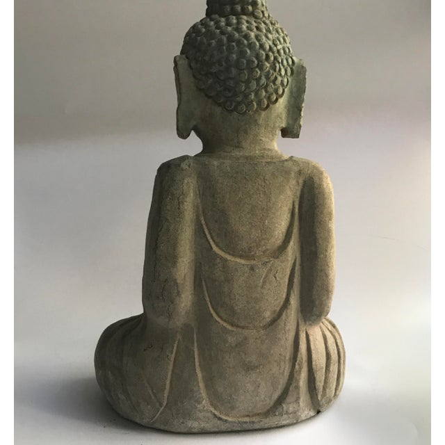 Blue Antique Tibetan Carved Stone Temple Buddha For Sale - Image 8 of 13