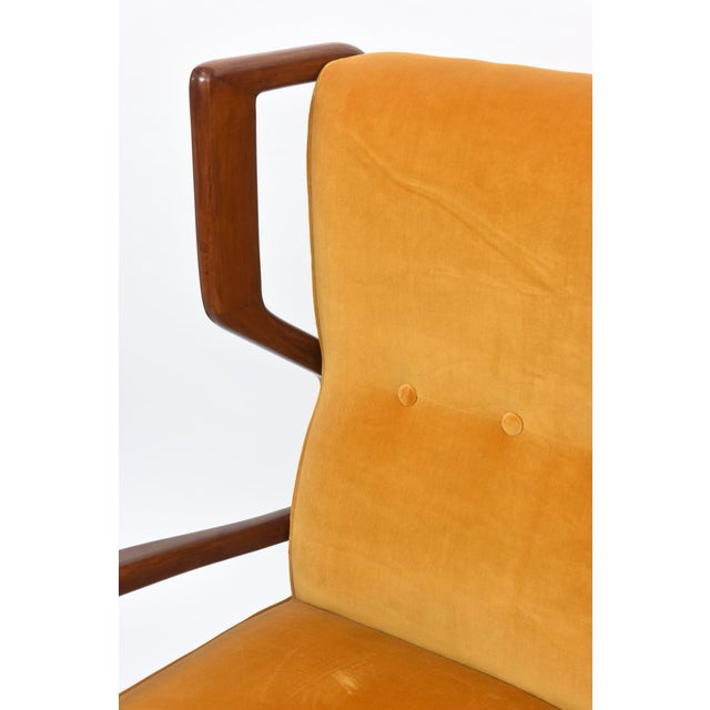 Rare Pair of Italian Modern Walnut Armchairs, Orlando Orlandi For Sale - Image 10 of 11