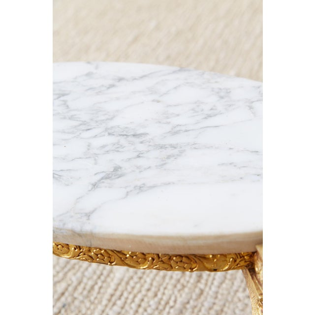 Nest of Italian Doré Bronze and Marble Drink Tables For Sale In San Francisco - Image 6 of 13