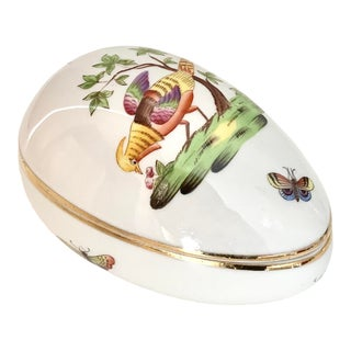 Herend Vintage Porcelain Egg Box With Pheasant Design For Sale