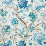 Image of Schumacher Indian Arbre Wallpaper in Peacock & Emerald , Sample For Sale