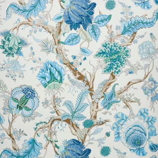 Schumacher Indian Arbre Wallpaper in Peacock & Emerald , Sample For Sale
