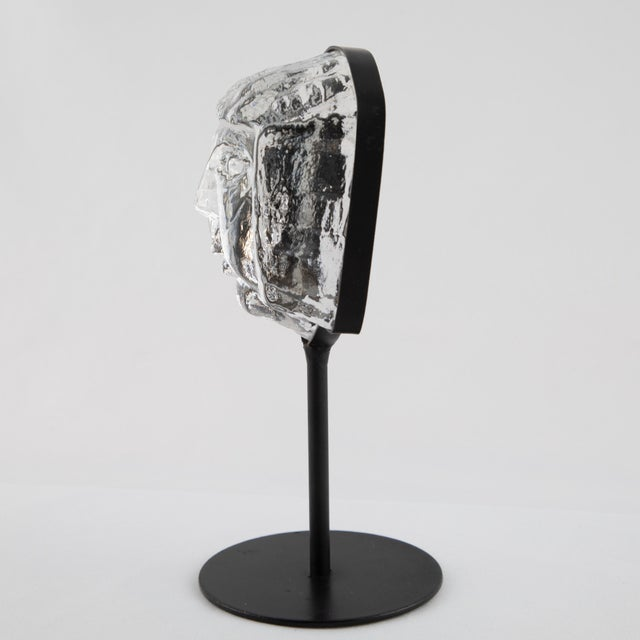Glass Face Sculpture on Iron Stand by Erik Hoglund for Kosta Boda Circa 1960s For Sale In New York - Image 6 of 12