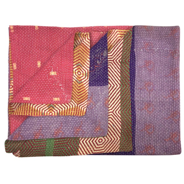 Pinks and Purples Vintage Kantha Quilt For Sale